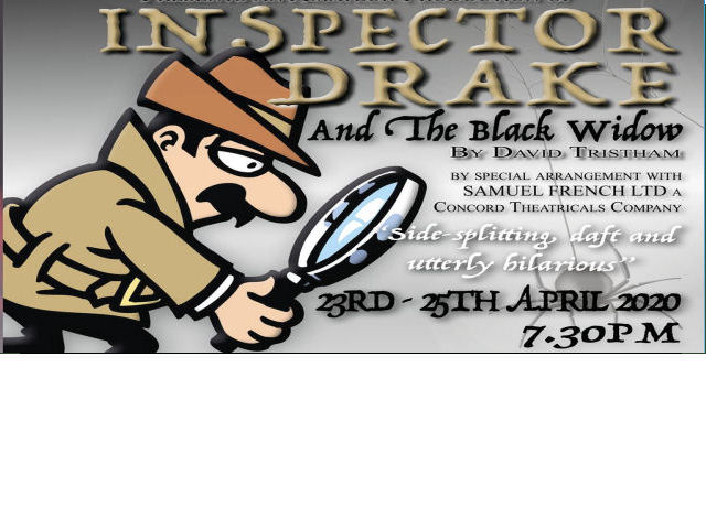 """Inspector Drake and his sidekick Sergeant Plod return in their most perplexing case yet, confronting everything from missing tortoises, to triplets, to deadly tropical spiders. Another thrilling ride in the company of the world's greatest detective, as he attempts to solve one murder at the same time as avoiding his own. This amateur production of """"Inspector Drake & the Black Widow"""" is presented by special arrangement with SAMUEL FRENCH LTD a Concord Theatricals Company. boxoffice@belfreytheatre.com  Updated:Saturday, February 15, 2020"""